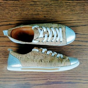 Kork Ease Silver Leather & Cork sneakers size 7